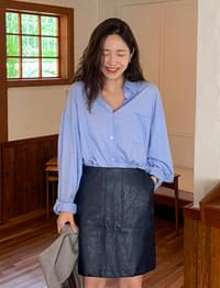 Thence pocket leather skirt_A
