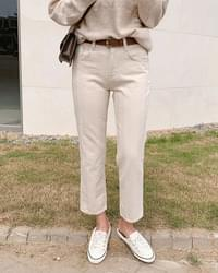 Herringbone cotton flat pants-2color