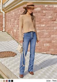 LINED GOLGI ROUND NECK CROP KNIT