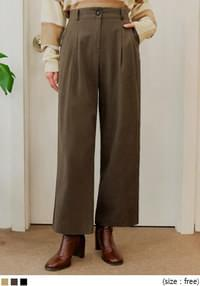 CLODY BANDING COTTON WIDE PANTS