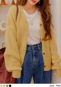 Loose V-Neck Knit Cardigan