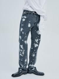 straight-fit painting black jeans - men