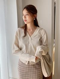 Season wool button cardigan_C (size : free)