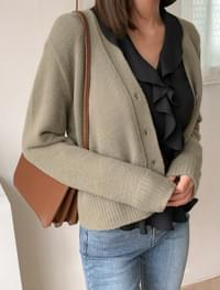 Semi-Crop Soft Knit Cardigan