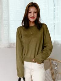 semi crop basic wool knit