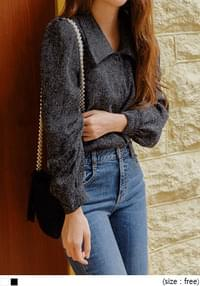 TWEED WRAP BUTTON PUFF BLOUSE
