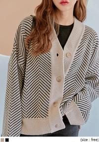 HERRINGBONE LOOSE KNIT CARDIGAN