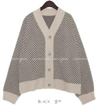HERRINGBONE LOOSE KNIT CARDIGAN 開襟衫 & 背心