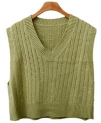 Twist Cropped Knit Vest