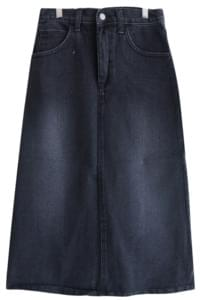 Washed denim long skirt