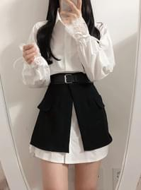 New ♥ Balloon Shirt + Buckle Skirt Dress Set