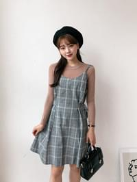Check Belted Bustier Dress