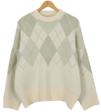 Pudding Argyle Box Knit