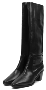 leather slim long boots