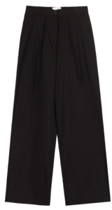 Pintuck wide cotton pants
