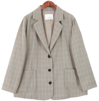 Three-button check jacket