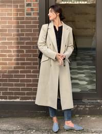 Double Button Poly Long Coat