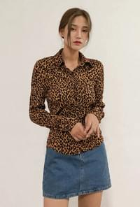 Leopard pleated blouse