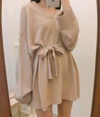 Candy Ribbon Knit One Piece 洋裝