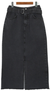 Belt denim long skirt