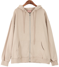 Cotton plain hooded zip up