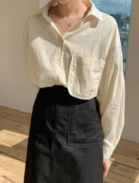 Loose-fit pocket cotton shirt