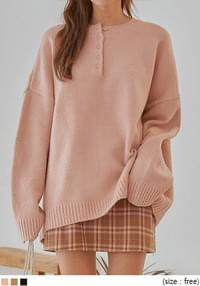 VATION BUTTON LOOSE FIT KNIT
