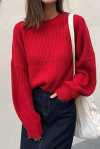 Drop Shoulder Round Neck Knit