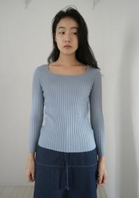 ribbed square-neck knit