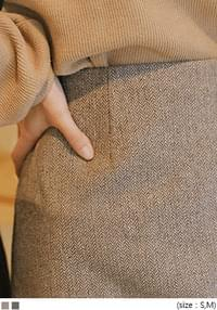 END WOOL 40% HERRINGBONE SKIRT