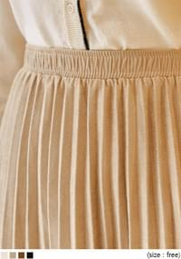 CUDDLY SUEDE PLEATS LONG SKIRT