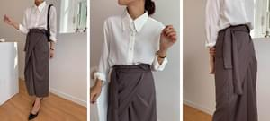 Autumn two-way twist long skirt