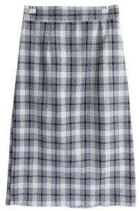 Pink check long skirt