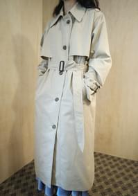over fit maxi cotton trench