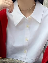 Blush pearl choker necklace_C (size : one)