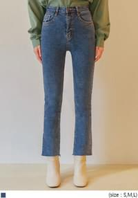 RILED HIDDEN BANDING DENIM PANTS