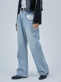 maxi pocket denim pants - woman