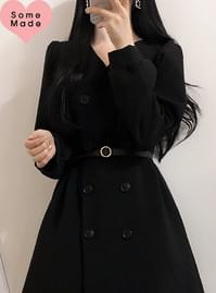 Self-made ♥ belt set jacket double button dress