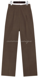BRASS PINTUCK WIDE COTTON PANTS