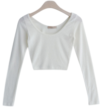 U neck slim cropped T-shirt