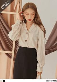 CALLY STRIPE OPEN COLLAR BLOUSE