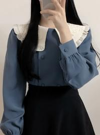 Joey embroidered collar pin tuck blouse