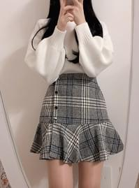 Riel check ruffle skirt