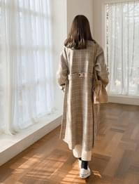 wool soft check long coat Check wool double coat