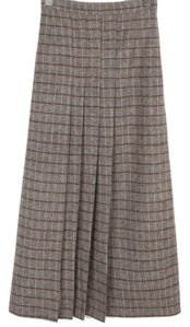 Check Pleated Bending Skirt