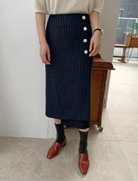 Maize stripe wool skirt_U (size : S,M)