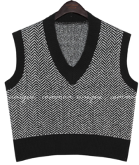 HEIN HERRINGBONE V NECK KNIT VEST