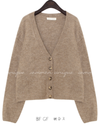 ADE BOKASHI V NECK KNIT CARDIGAN
