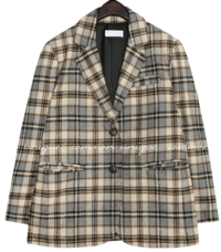MOIA WOOL CHECK SINGLE JACKET