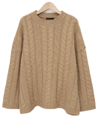 Cable lambs wool knit_C (size : free) 針織衫